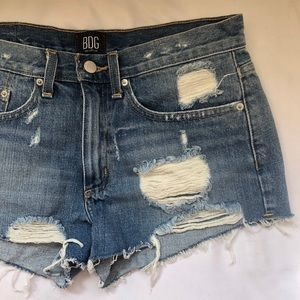 BDG Essential Mid Rise Denim Distressed Shorts